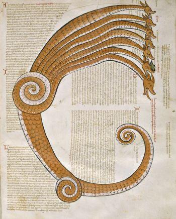 Le dragon à sept têtes, Joachim de Fiore, Liber Figurarum, vers 1250, Italie.